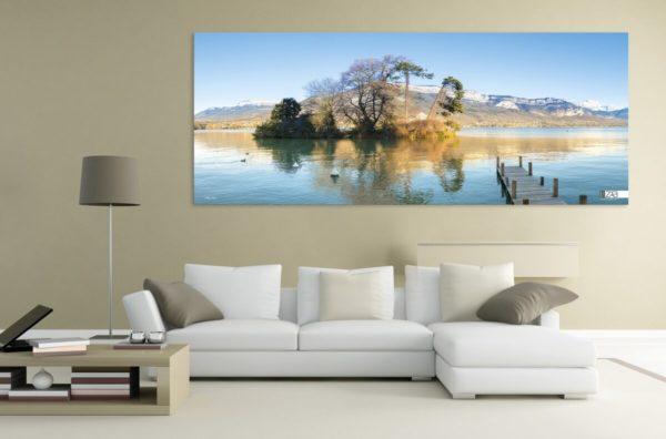 Byzab - exemple de rendu d'une bache de décoration outdoor sur paysage du lac d'annecy