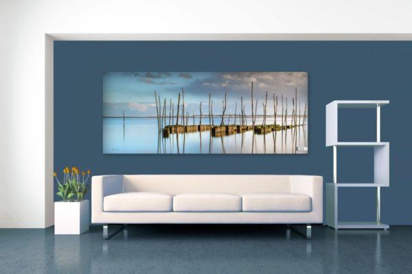 Byzab - exemple de rendu d'une bache de décoration outdoor sur paysage d'un parc d'huitres du bassin d'arcachon