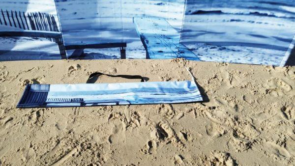Byzab - Paravent avec photographie d'un banc et de l'océan atlantique avec sa housse de transport