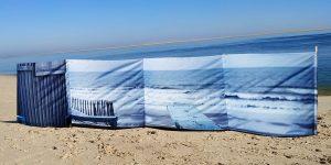 Byzab - Paravent avec photographie d'un banc et de l'océan atlantique